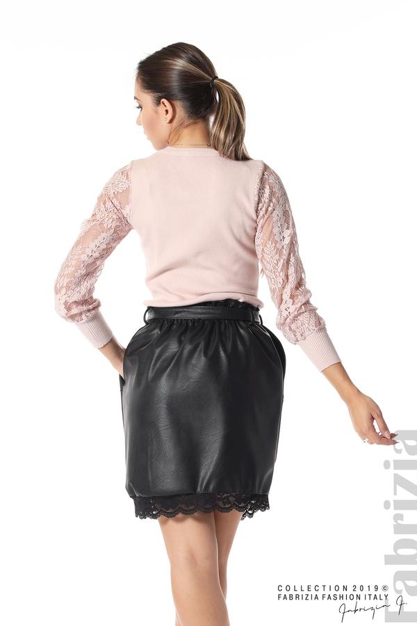 Кожена пола с дантела черен 6 fabrizia