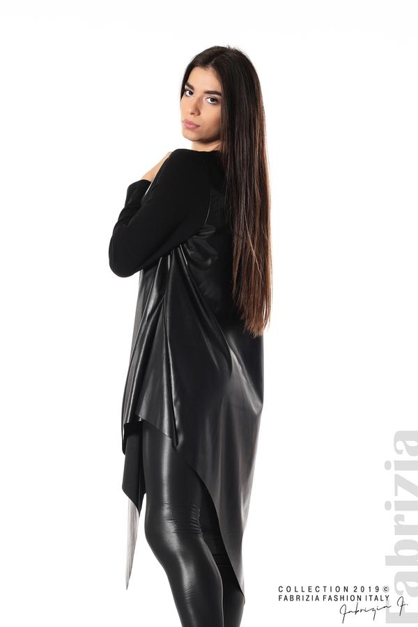 Дамска туника с кожа черен 2 fabrizia