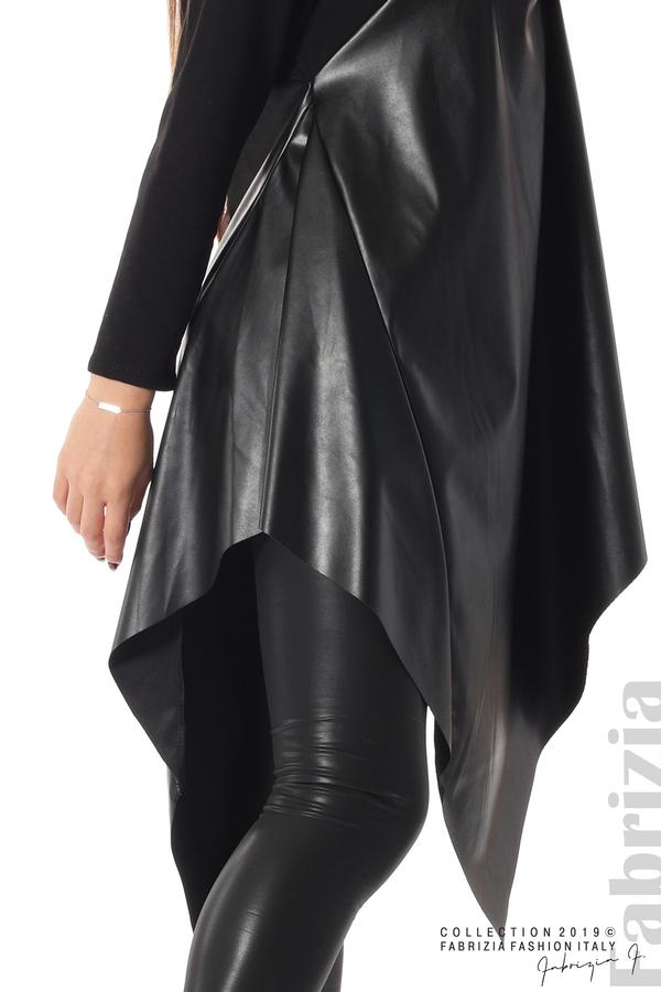 Дамска туника с кожа черен 4 fabrizia