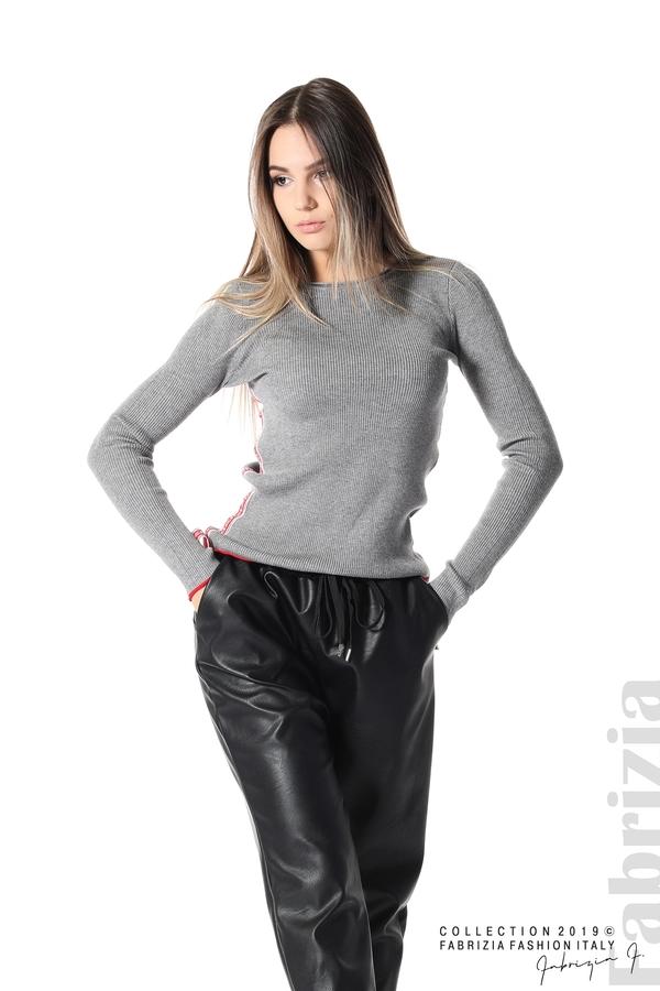 Рипсена блуза със странични ленти сив 2 fabrizia