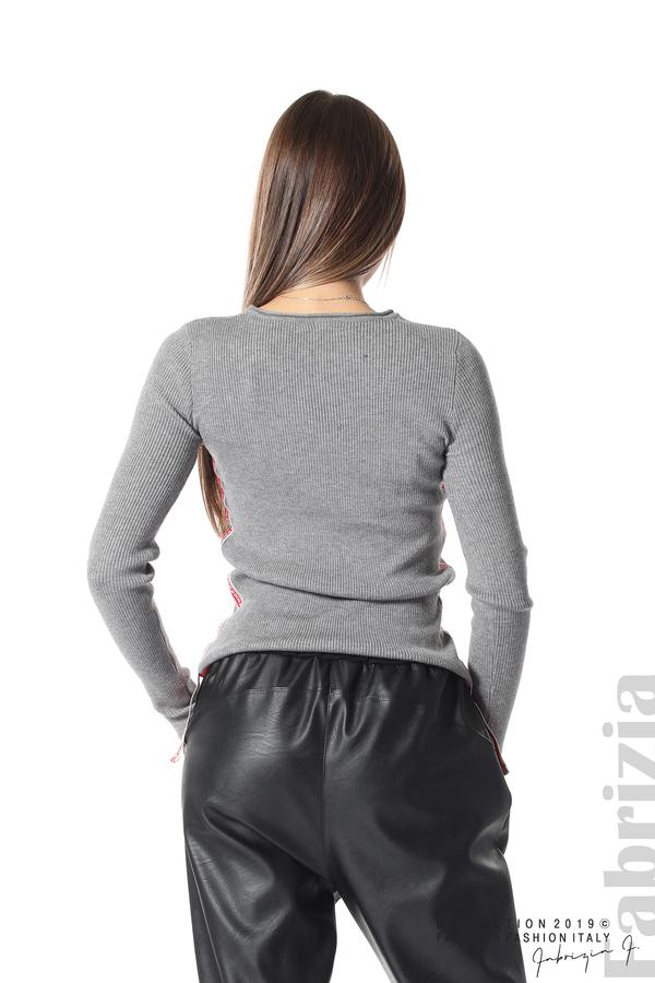 Рипсена блуза със странични ленти сив 5 fabrizia