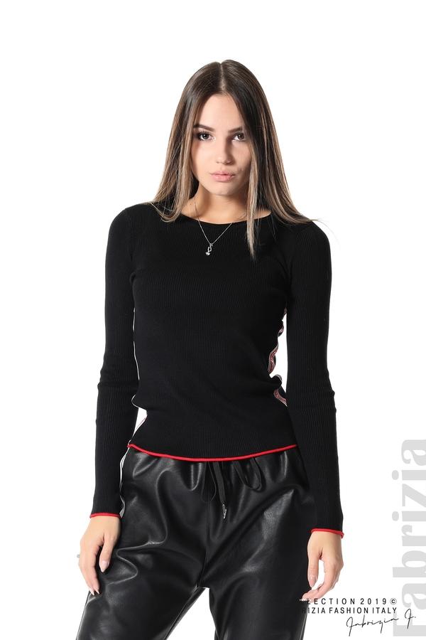 Рипсена блуза със странични ленти черен 1 fabrizia