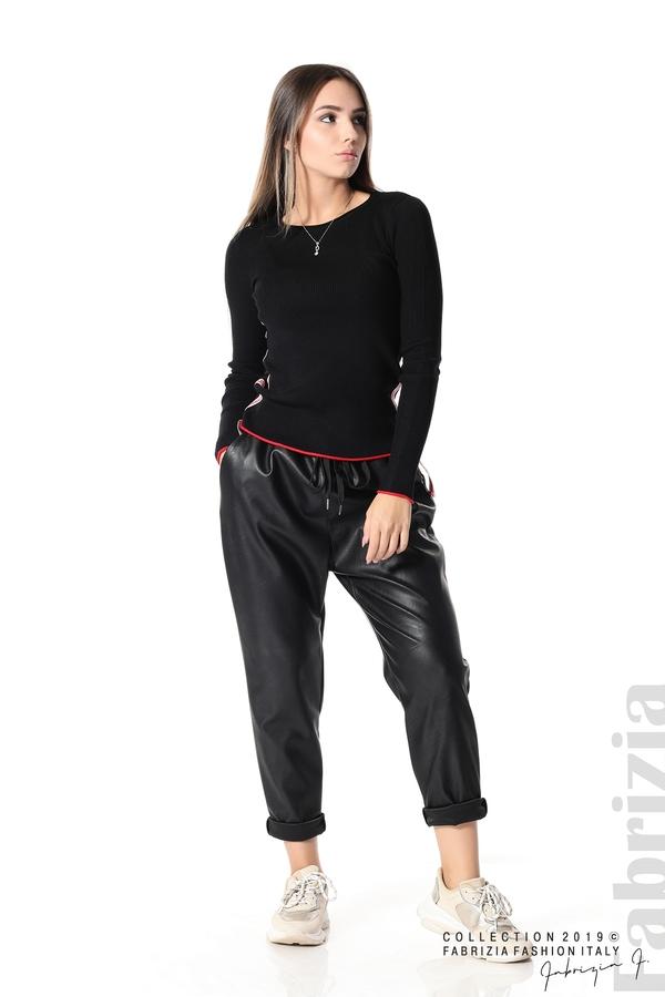 Рипсена блуза със странични ленти черен 2 fabrizia
