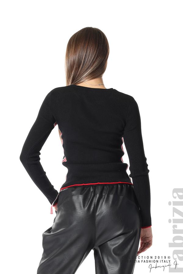 Рипсена блуза със странични ленти черен 4 fabrizia