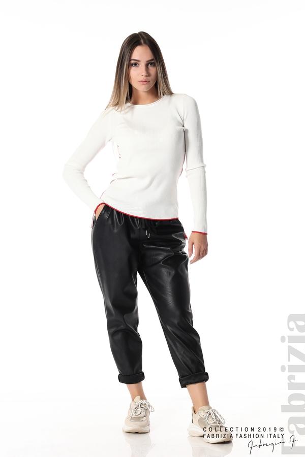 Рипсена блуза със странични ленти бял 2 fabrizia