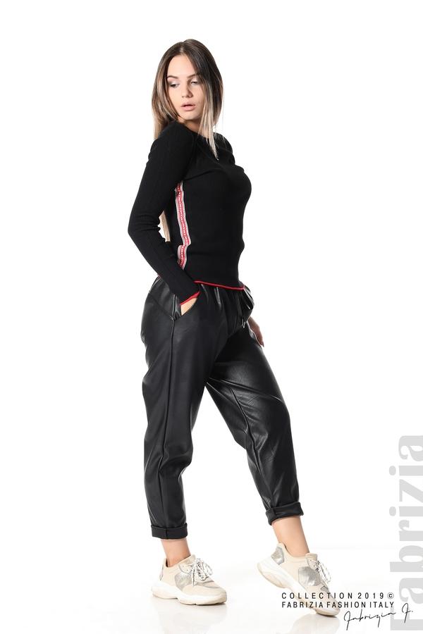 Рипсена блуза със странични ленти черен 3 fabrizia