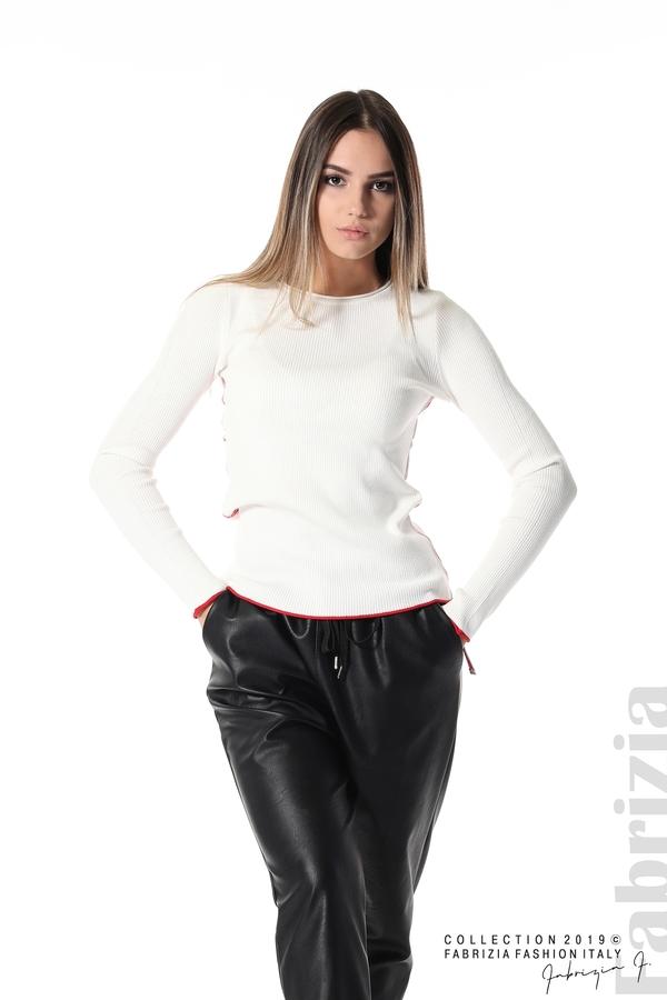 Рипсена блуза със странични ленти бял 1 fabrizia