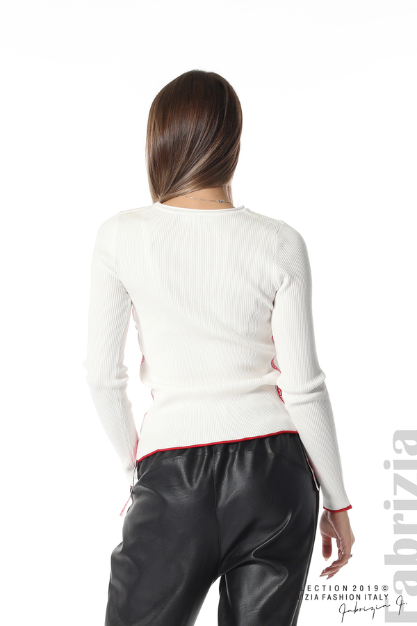 Рипсена блуза със странични ленти бял 4 fabrizia