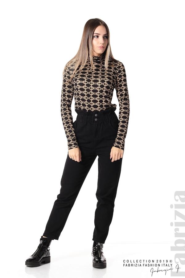Блуза с фигурален десен черен 2 fabrizia