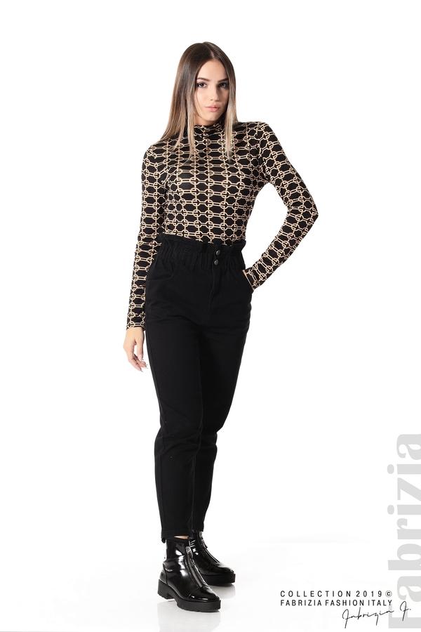 Блуза с фигурален десен черен 3 fabrizia