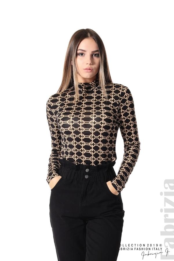 Блуза с фигурален десен черен 1 fabrizia