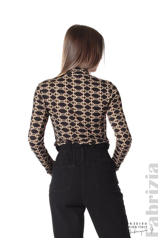 Блуза с фигурален десен черен 5 fabrizia