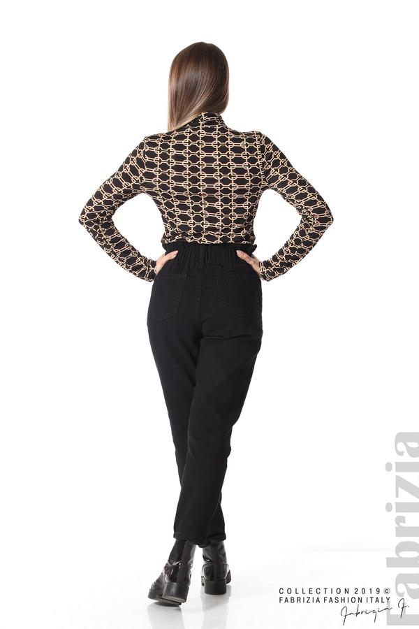 Блуза с фигурален десен черен 4 fabrizia