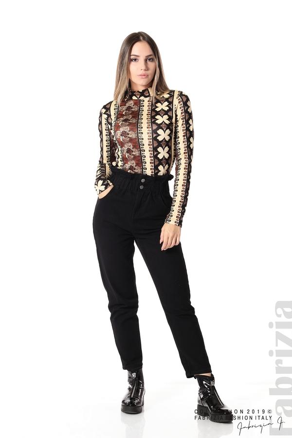 Дамска блуза с десен на цветя бежов/кафяв 2 fabrizia