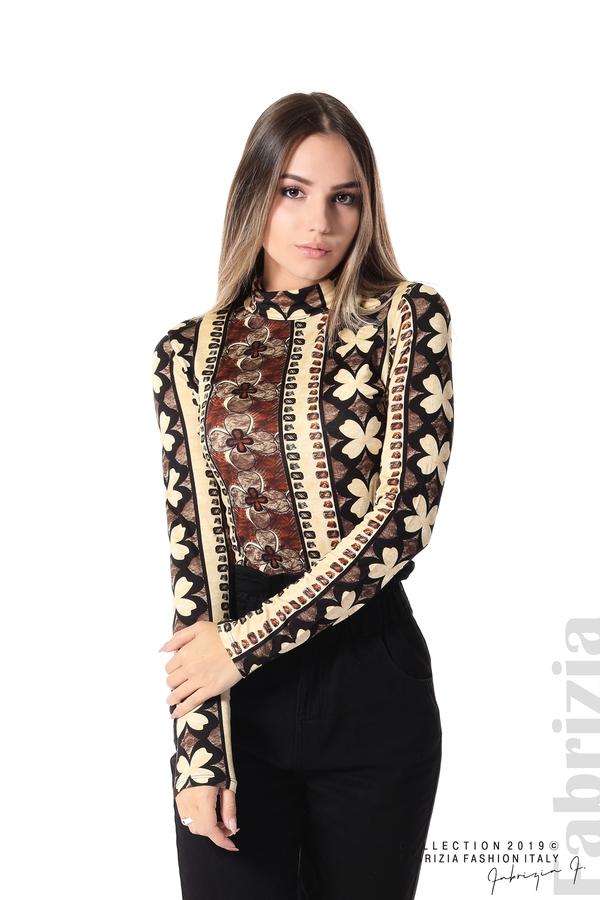 Дамска блуза с десен на цветя бежов/кафяв 1 fabrizia