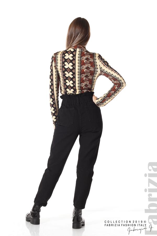 Дамска блуза с десен на цветя бежов/кафяв 4 fabrizia
