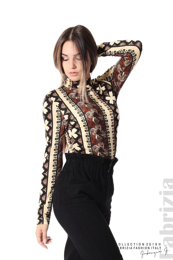Дамска блуза с десен на цветя бежов/кафяв 3 fabrizia