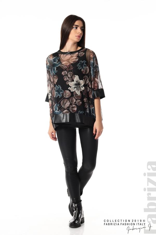 Ефирна дамска блуза на цветя черен 3 fabrizia