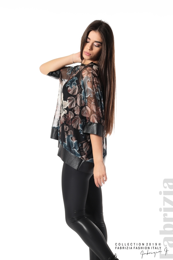Ефирна дамска блуза на цветя черен 2 fabrizia