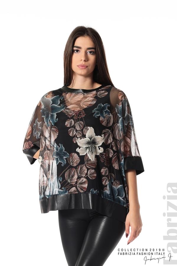 Ефирна дамска блуза на цветя черен 1 fabrizia