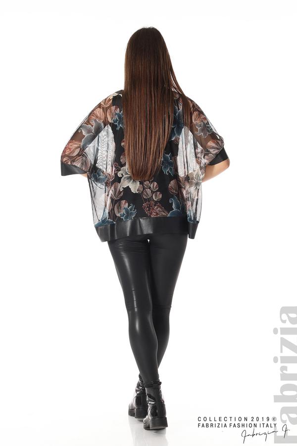 Ефирна дамска блуза на цветя черен 4 fabrizia