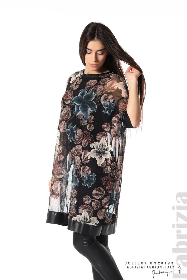 Ефирна дамска рокля на цветя черен 1 fabrizia