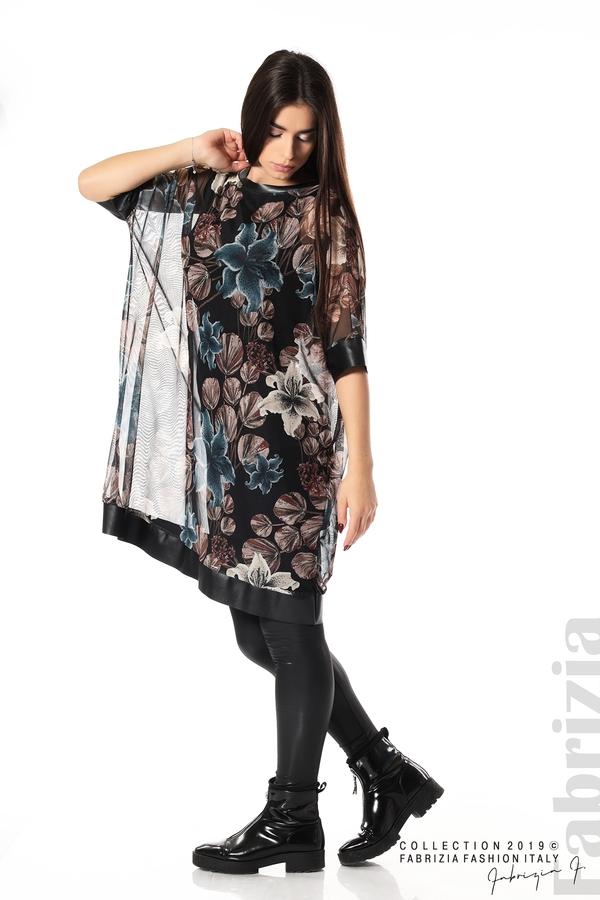 Ефирна дамска рокля на цветя черен 3 fabrizia
