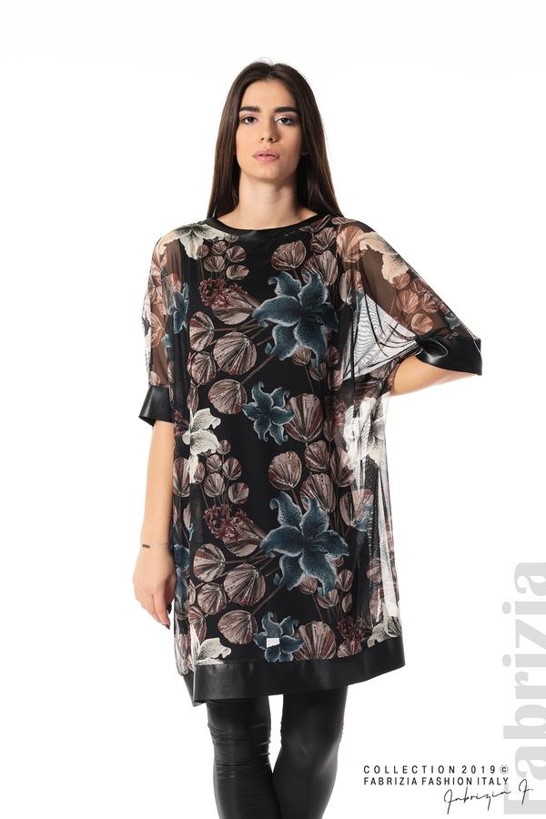 Ефирна дамска рокля на цветя черен 2 fabrizia