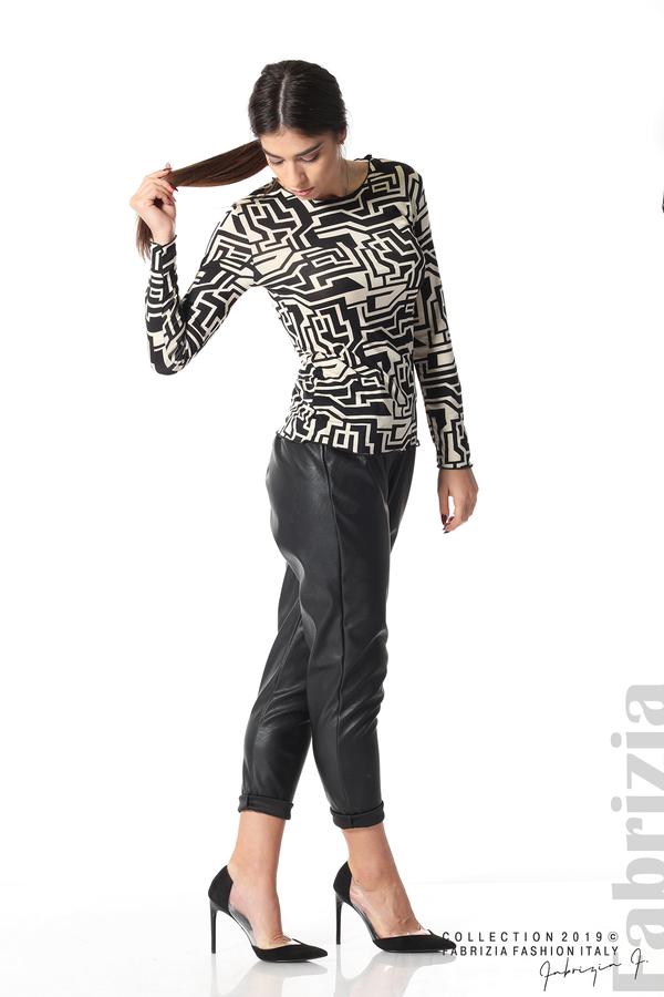Фигурална дамска блуза черен/екрю 2 fabrizia