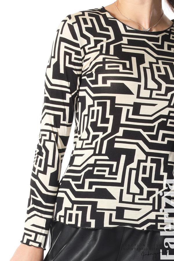 Фигурална дамска блуза черен/екрю 3 fabrizia