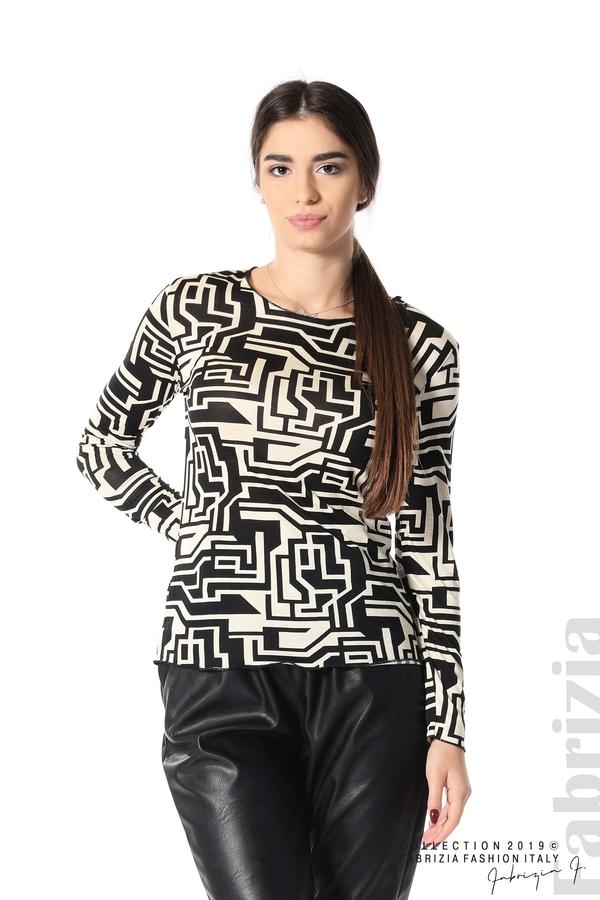 Фигурална дамска блуза черен/екрю 1 fabrizia