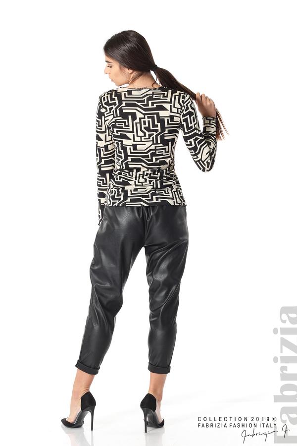 Фигурална дамска блуза черен/екрю 4 fabrizia