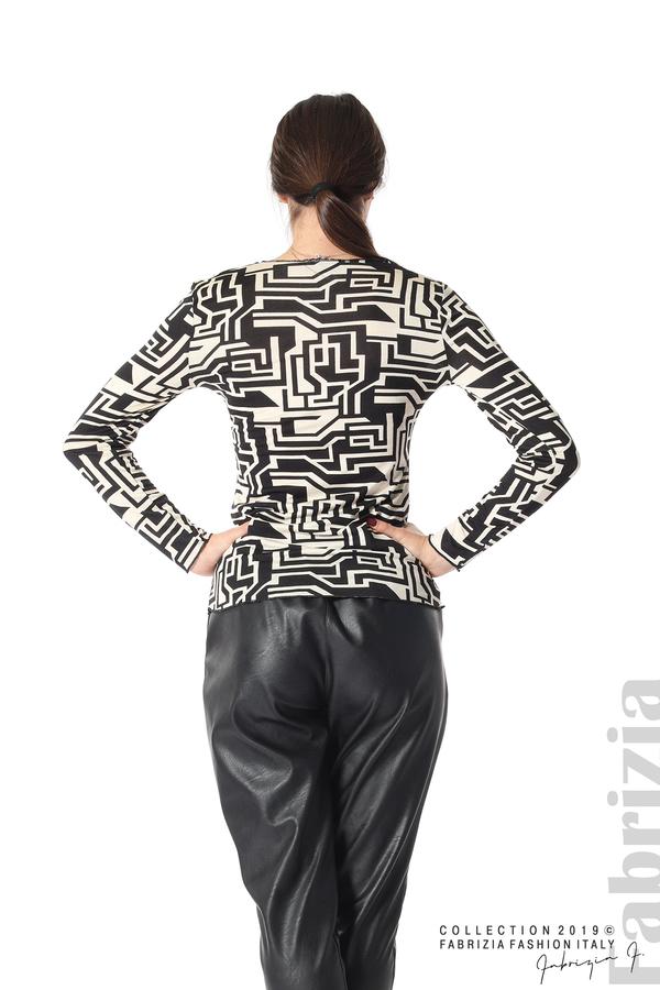 Фигурална дамска блуза черен/екрю 5 fabrizia