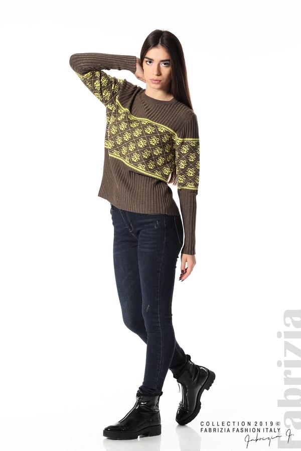 Блуза с флорална мрежа т.кафяв 3 fabrizia
