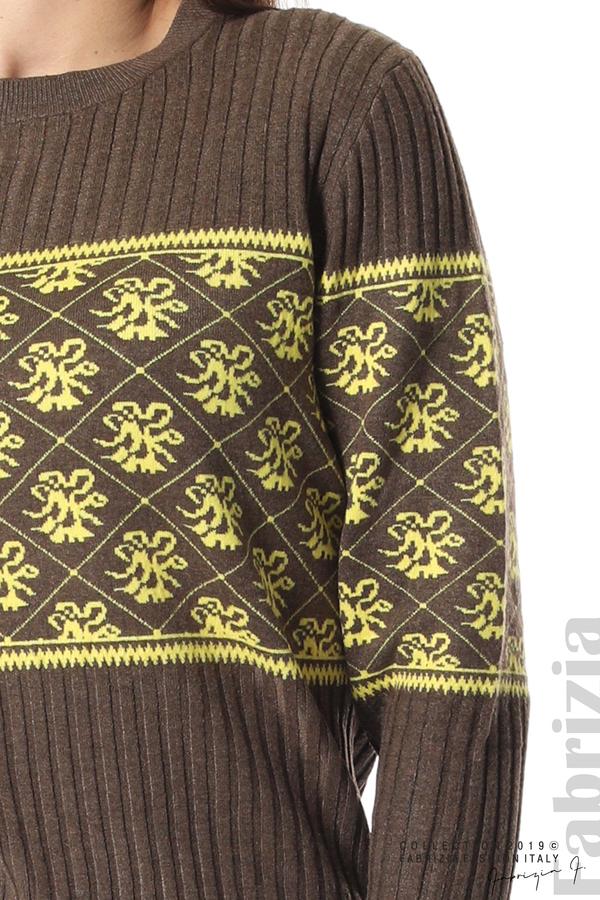 Блуза с флорална мрежа т.кафяв 4 fabrizia