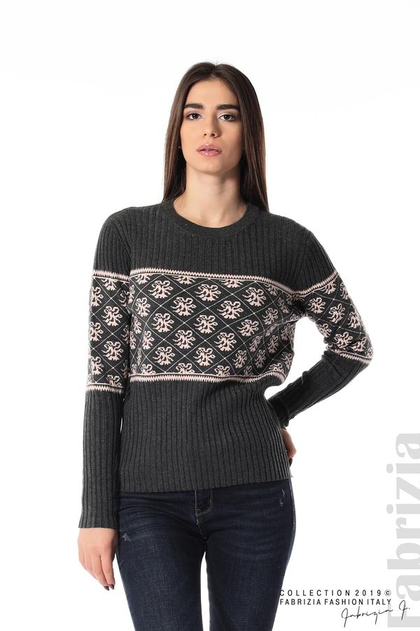 Блуза с флорална мрежа сив 1 fabrizia