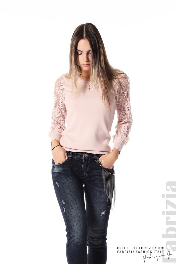 Дамска блуза с дантелени ръкави пепел от рози 2 fabrizia