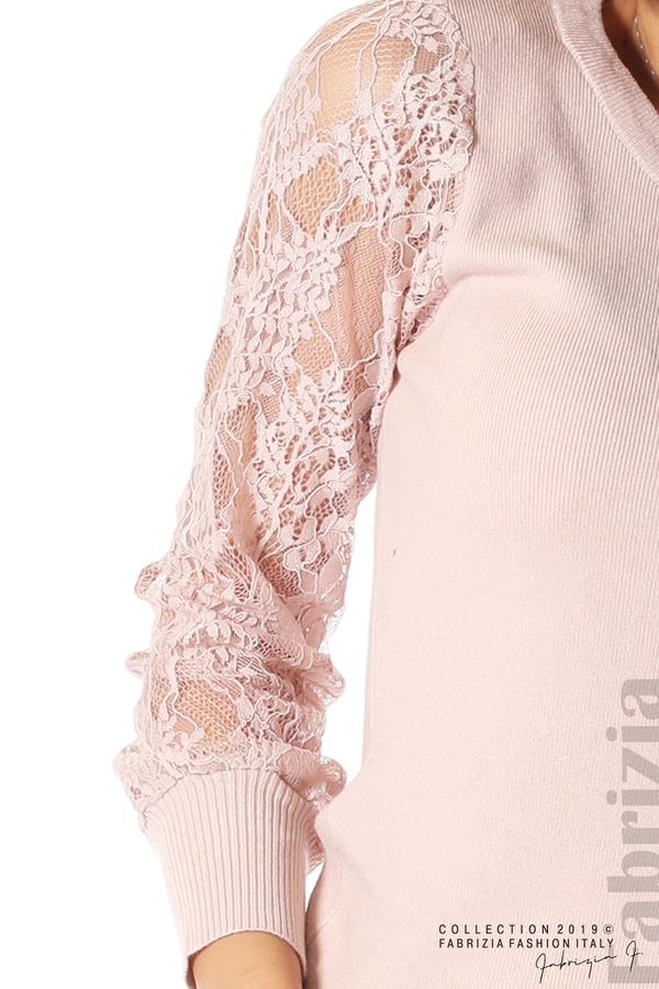 Дамска блуза с дантелени ръкави пепел от рози 4 fabrizia