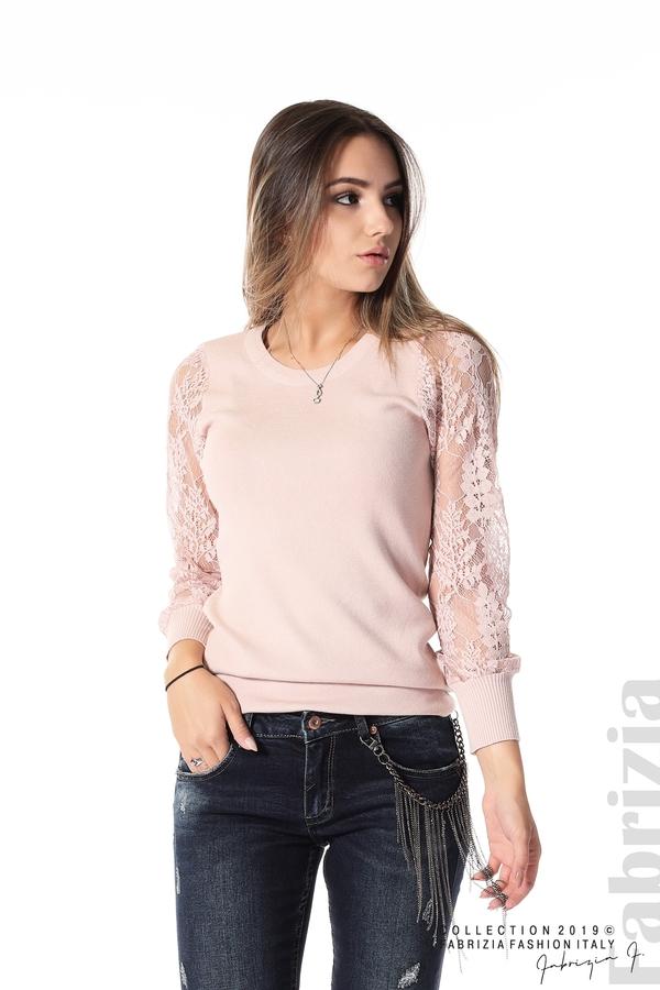 Дамска блуза с дантелени ръкави пепел от рози 1 fabrizia