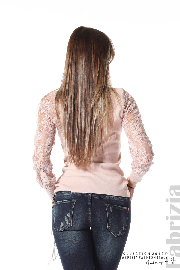 Дамска блуза с дантелени ръкави пепел от рози 5 fabrizia