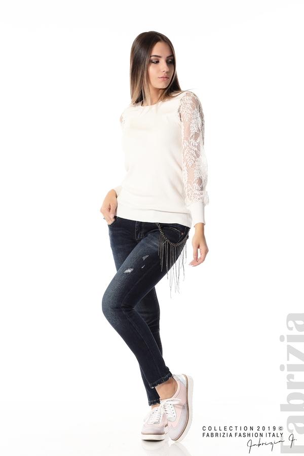 Дамска блуза с дантелени ръкави бежов 2 fabrizia