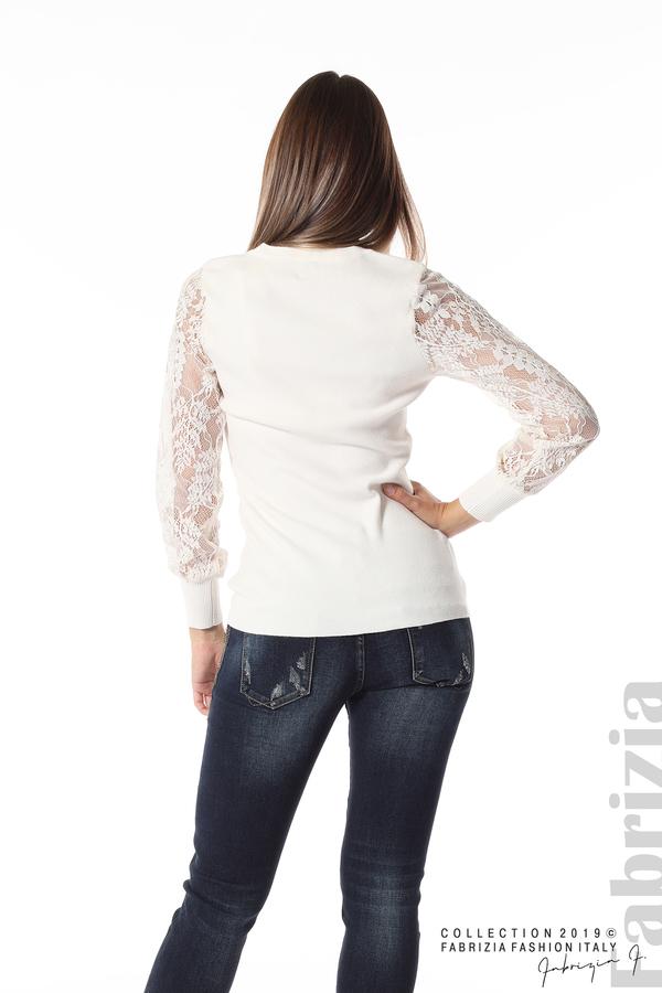 Дамска блуза с дантелени ръкави бежов 4 fabrizia