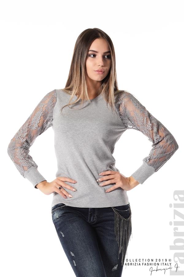 Дамска блуза с дантелени ръкави сив 1 fabrizia