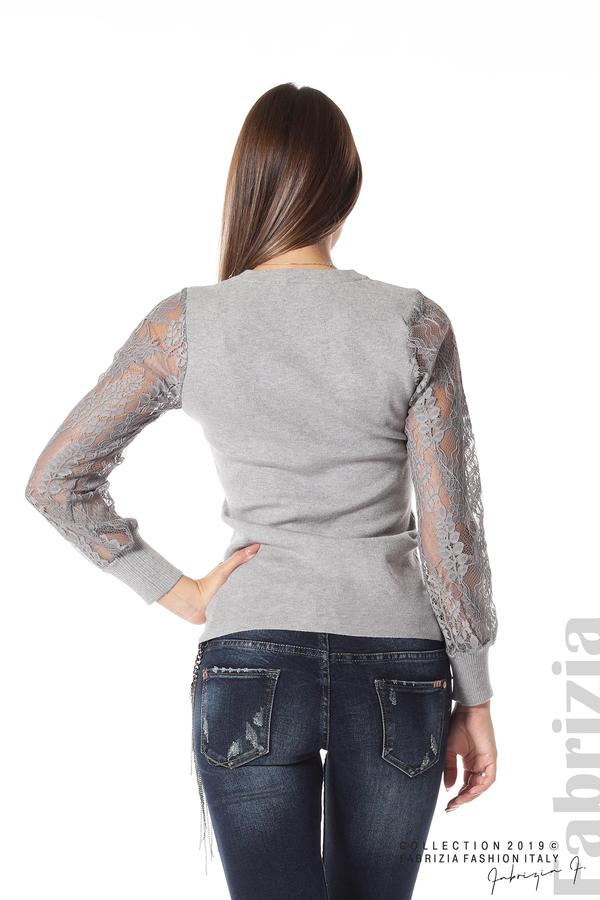 Дамска блуза с дантелени ръкави сив 3 fabrizia