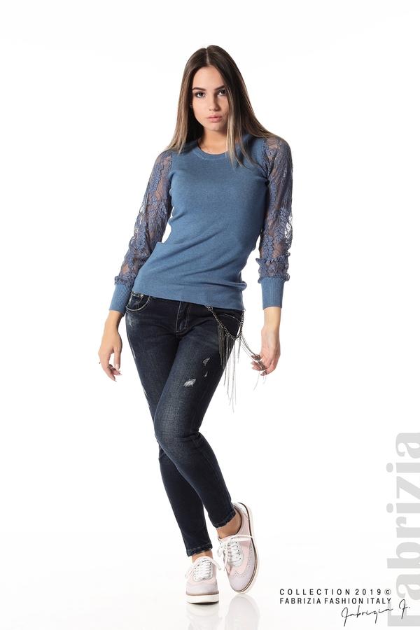 Дамска блуза с дантелени ръкави д.син 2 fabrizia