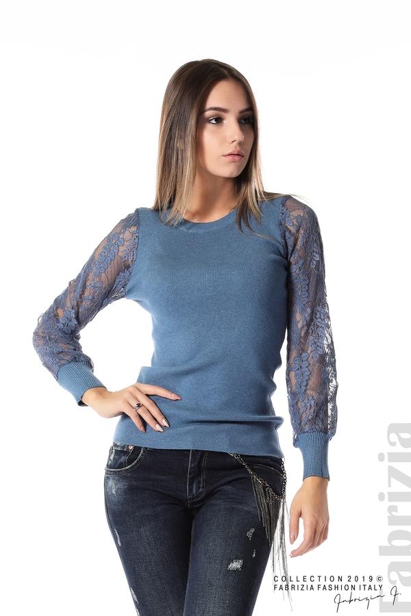 Дамска блуза с дантелени ръкави д.син 1 fabrizia