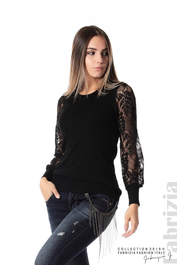 Дамска блуза с дантелени ръкави черен 1 fabrizia