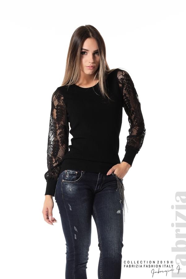 Дамска блуза с дантелени ръкави черен 3 fabrizia