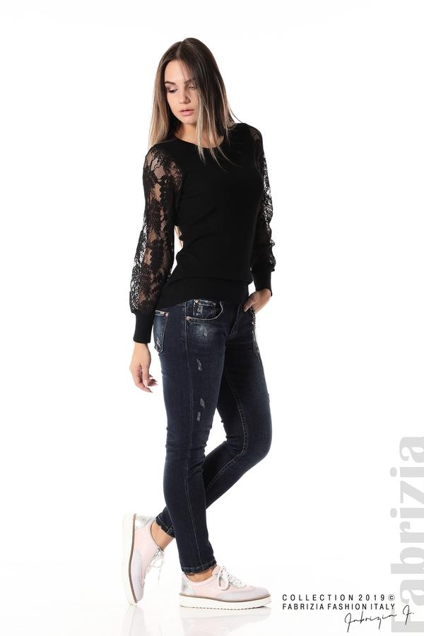 Дамска блуза с дантелени ръкави черен 2 fabrizia