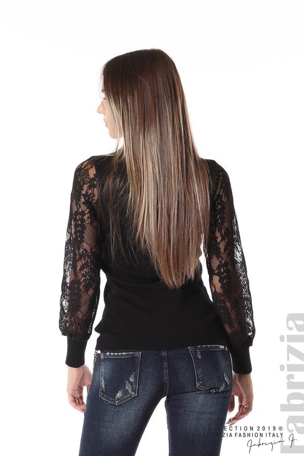 Дамска блуза с дантелени ръкави черен 4 fabrizia